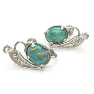 Vintage Turquoise Design Sterling 925 Earrings